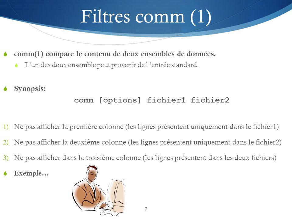 comm [options] fichier1 fichier2